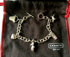 ***RARE*** COACH STERLING SILVER CHARM BRACELET w/ DOG, TAG, SHOE, HEART, PURSE