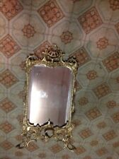 RARE Antique Beveled Glass Gold Gilt Brass L👀K Metal Picture Art Frame Mirror #