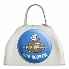 Sub Woofer Dog Submarine Funny Humor White Metal Cowbell Cow Bell Instrument
