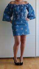 House of Holland Embroidered Denim Ruched Dress UK 8 Jeanskleid