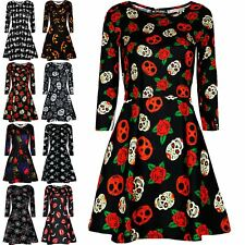 Womens Halloween Scary Skull Skelleton Fancy Costume Ladies Smock Swing Dress
