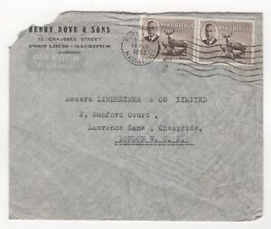 1953 MAURITIUS Air Mail Cover PORT LOUIS to LONDON GB SG287 KGVI Henry Dove Sons