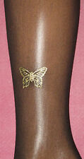 "Gold Butterfly & Black Sheer L / XL tights. 16-20 New sparkly Xmas up to 48"" hip"