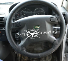 FOR LAND ROVER DISCOVERY I MK1 BLACK LEATHER STEERING WHEEL COVER WHITE STITCH
