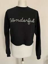 Miss Selfridge Sweatshirt Jumper Size Large Cropped Black Long Sleeve Crew Neck