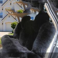 Full Set real Sheepskin Long Wool Front Car Seat Rear Cover Fur Universal Black