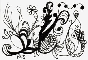 ACEO Fantasy Flower Garden Zen Doodle Tangle Design Art zentangle Penny StewArt