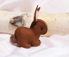 Brown Felt Bunny ~ Hand sewn by Vermont Artist ~ Waldorf Inspired