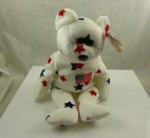 Ty Glory birthday July 4th, 1997 beanie babies Patriotic red white blue flag