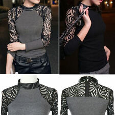 Blouse Lace Crew Neck Floral Tops & Shirts for Women