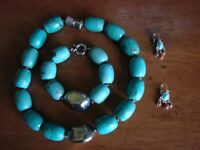 TURQUOISE NECKLACE AND BRACELET SET WITH EARRINGS