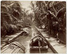 Photo - Ceylon - Canal - House Boat - India - Albumine - 1880 -