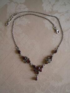 Granat Collier Kette facettiert 925er Silber gestempelt