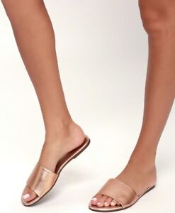 Lulu's Tara Rose Gold Leather Slides!! Handmade in Brazil!