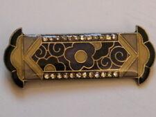 Bijou broche art déco rectangulaire émaillé strass,décors florales,n°866.