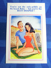 Comic Postcard 1950s Large Boobs Bathing Beauty Red Costume Pin Up Beach Theme