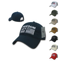 Freedom Isn't Free USA American Flag Washed Cotton Polo Baseball Dad Caps Hats