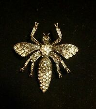 Vintage Antique Silver Crystal Rhinestone Bumble Bee Fashion Brooch/Pin
