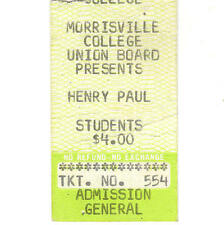 Henry Paul Concert Ticket Stub Morrisville Ny 1981 Hamilton Hall The Outlaws