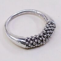 Size 7.25, Vtg Sterling Silver Handmade Ring 925 Silver Band w/ beads Details