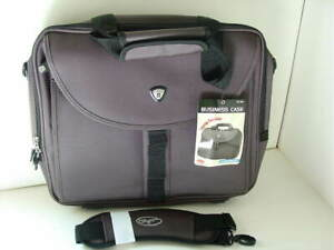 OLYMPIA Gray Nylon Laptop Computer Messenger Bag Briefcase Business Case NEW NWT