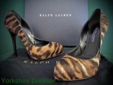 New RALPH LAUREN Collection 37Uk 4 Tan Tiger JENESA Haircalf Leather Pumps Shoes