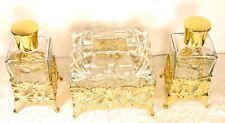 Vtg Vanity Glass & Metal Set of 3 Mid Century Fragrance Oil Bottles Trinket Box