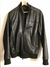 Theory Mens Leather Bomber Jacket Size XS
