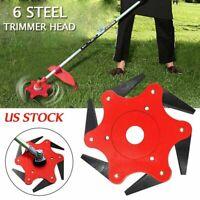 Outdoor 6 Steel Trimmer Head Blades Razors 65Mn Lawn Mower Grass Weed Cutter Red