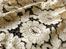 """Antique Madeira Embroidery Cutwork Round Tablecloth 64"""", with 6 Napkins"""