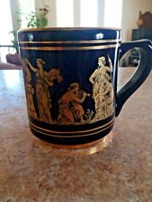 "Small Greek Handmade Vintage Souvenir Mug 24k Gold Design 3 1/4"" Tall"