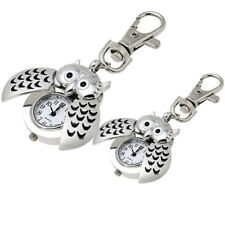New Fashion Mini Watch Metal Key Ring Owl Double Open Quartz Alloy Analog Watch