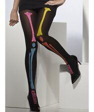 Vestito per Halloween Donna OPACO Scheletro collant neri / Multi NUOVO smiffys