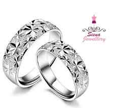 18ct 18k White Gold GP Lovers Ring Sets 2 with Groom Bride milgram engraving