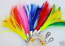 5 Pack of Rigged Mini Feathers. Tuna, Tailor, Mackeral. Trolling Feather Lures