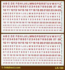 1/144 to 1/300 Decals LR-100 NEW Letters & Numbers Red