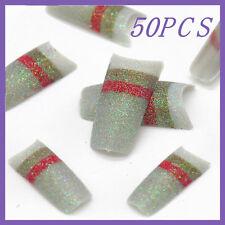 50pcs Silver Red Stripe Glitter French False Nail Tips FN0068+1 Free Glue
