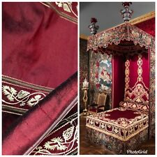 SALE! 100% Silk Taffeta Interior Design Fabric Embroidery Rouge Red