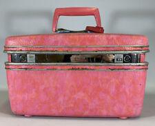 Vintage Pink Samsonite Silhouette Train Case Makeup Suitcase Luggage Travel Bag