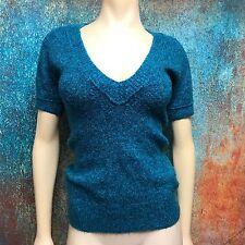 Arizona Womens Sweater Top Marled Turquoise Blue Deep V Neck Short Sleeve Size M