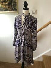 Womens Tory Burch Silk Floral Purple Tie Tunic Dress Long Sleeves US 6 UK 10