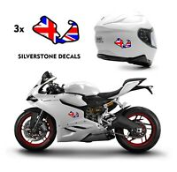 3x SILVERSTONE Race Track Helmet Decals Stickers Belly Pan Graphics R UK flag