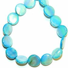 """MP2498L Blue AB 15mm Flat Round Coin Mother of Pearl Shell Beads 14"""""""