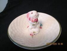 "Porcelain Bunny Ring Catcher Trinket Plate 5"""