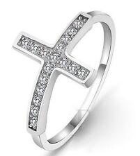 Anillo cruz en plata de ley 925  (Talla 12)