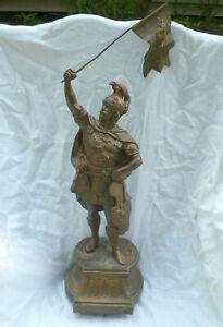 "19"" Antique Spelter Soldier Statue Unicorn Dragon Armor Shield Flag"