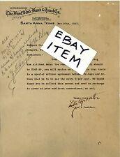 1912 LETTERHEAD Santa Anna Texas L O GARRETT Leon Shield FIRST STATE BANK TRUST