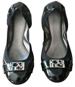 Nice Women Size 6 COACH Dora Black Patent Leather Silver LOGO Ballet Flats Shoes