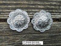 2 Jeremiah Watt Horse Shoe Bridle Headstall Rosettes Loop Conchos Silver Finish