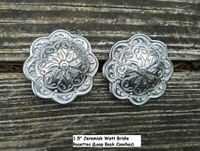 2 Jeremiah Watt Horse Shoe Bridle Headstall Rosettes Loop Conchos Silver Finish